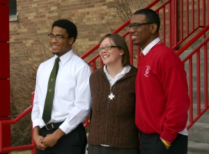sister Julia Walsh with two high school students