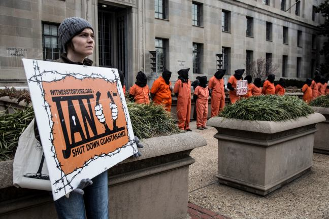 Amy Nee at January 2013 Witness Against Torture vigil in DC photo by Justin Norman