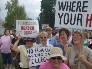 Me (on the far left), protesting the immigration raid in Postville, Iowa with other Sisters in my FSPA community, summer of 2008.