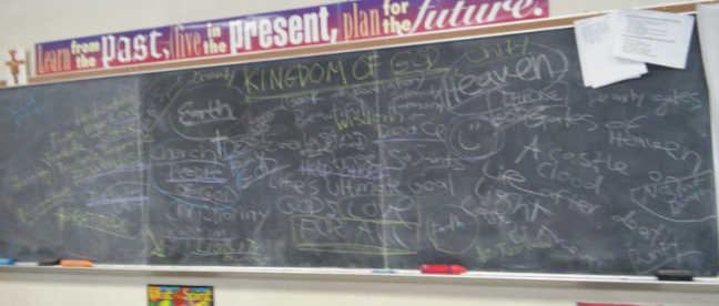 """Kingdom of God Period 6 Classroom Discussion"" photo by Julia Walsh, FSPA"
