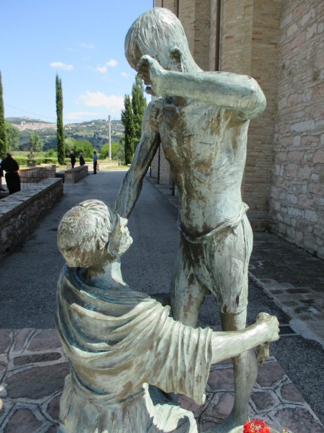 """St. Francis and The Leper sculpture at Rivo Torto, Assisi"" photo by Julia Walsh FSPA"