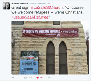 #JesusWasARefugee at La Salle Street Church, @ShaneClaiborne on Twitter