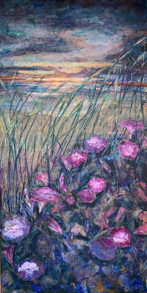 painting-purple-flowers-tall-grass-ocean-sunrise